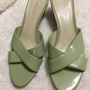 Green wedge sandals